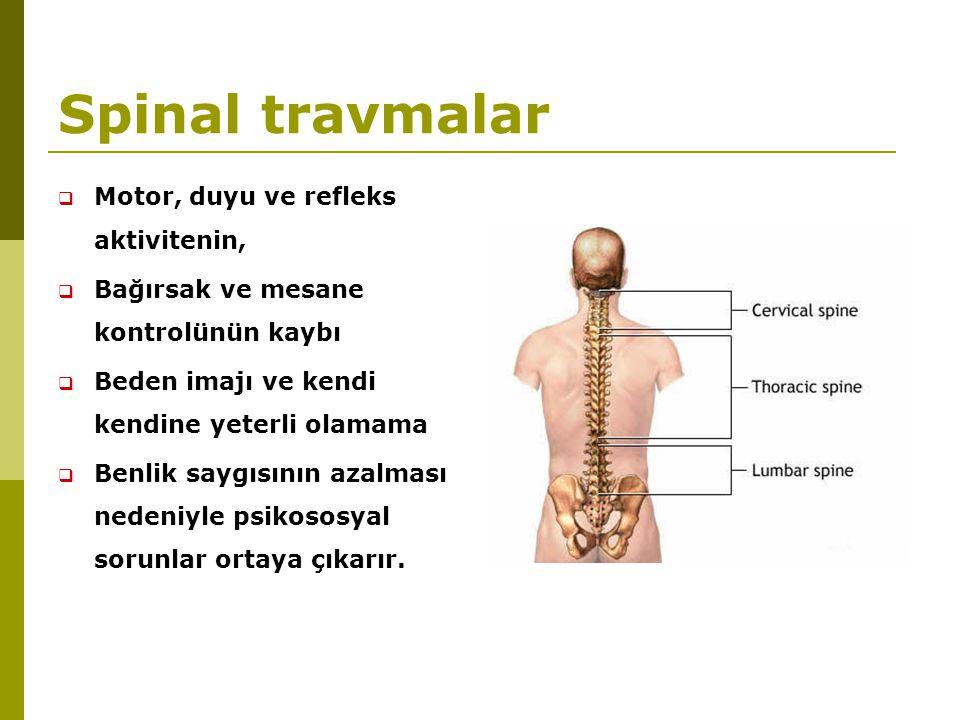 Spinal travmalar  Motor, duyu ve refleks aktivitenin,  Bağırsak ve mesane kontrolünün kaybı  Beden imajı ve kendi kendine yeterli olamama  Benlik