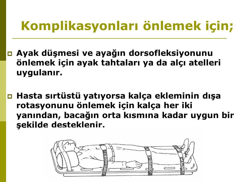 Komplikasyonları önlemek için;  Ayak düşmesi ve ayağın dorsofleksiyonunu önlemek için ayak tahtaları ya da alçı atelleri uygulanır.  Hasta sırtüstü