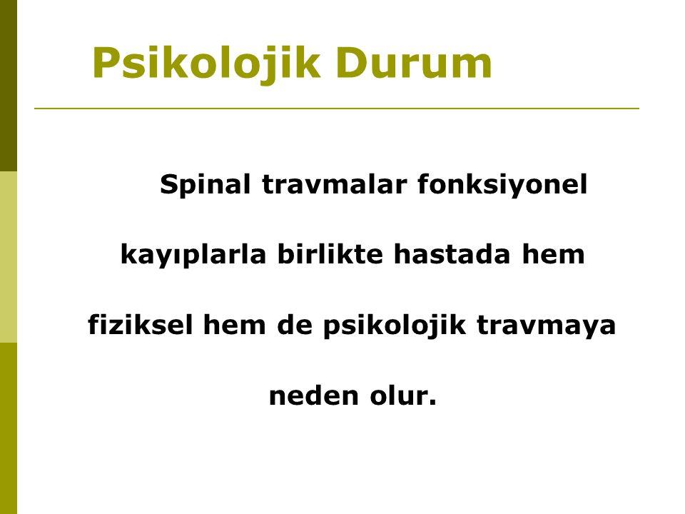 Psikolojik Durum Spinal travmalar fonksiyonel kayıplarla birlikte hastada hem fiziksel hem de psikolojik travmaya neden olur.