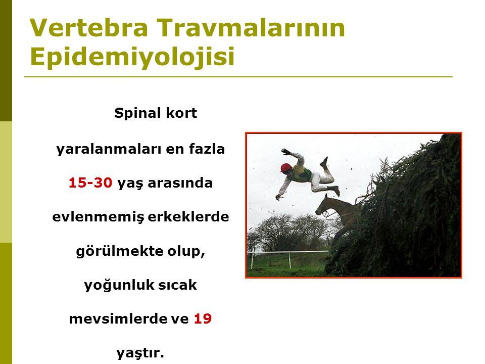 Vertebra Travmalarının Epidemiyolojisi Spinal kort yaralanmaları en fazla 15-30 yaş arasında evlenmemiş erkeklerde görülmekte olup, yoğunluk sıcak mev