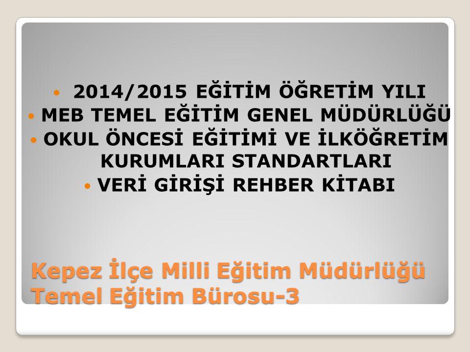Kepez İlçe Milli Eğitim Müdürlüğü Temel Eğitim Bürosu-3 2014/2015 EĞİTİM ÖĞRETİM YILI MEB TEMEL EĞİTİM GENEL MÜDÜRLÜĞÜ OKUL ÖNCESİ EĞİTİMİ VE İLKÖĞRET
