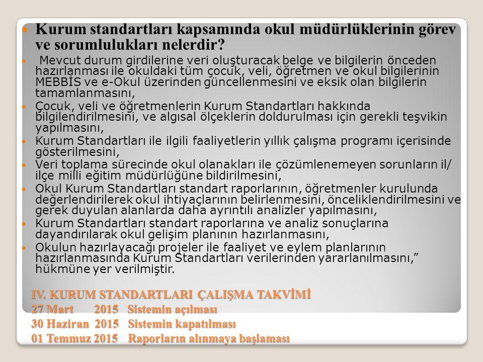 IV. KURUM STANDARTLARI ÇALIŞMA TAKVİMİ 27 Mart 2015 Sistemin açılması 30 Haziran 2015 Sistemin kapatılması 01 Temmuz 2015 Raporların alınmaya başlamas