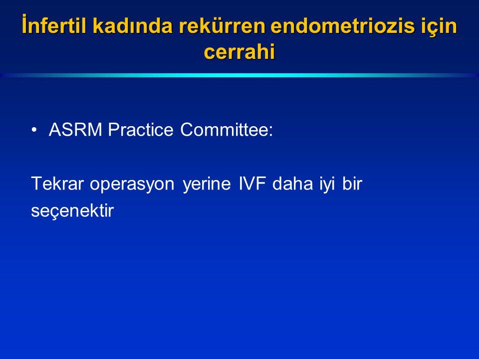 İnfertil kadında rekürren endometriozis için cerrahi ASRM Practice Committee: Tekrar operasyon yerine IVF daha iyi bir seçenektir