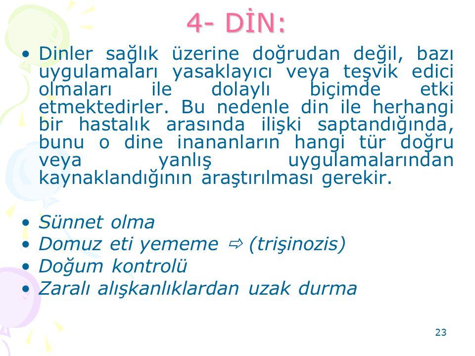 23 4- DİN: Dinler sağlık üzerine doğrudan değil, bazı uygulamaları yasaklayıcı veya teşvik edici olmaları ile dolaylı biçimde etki etmektedirler. Bu n
