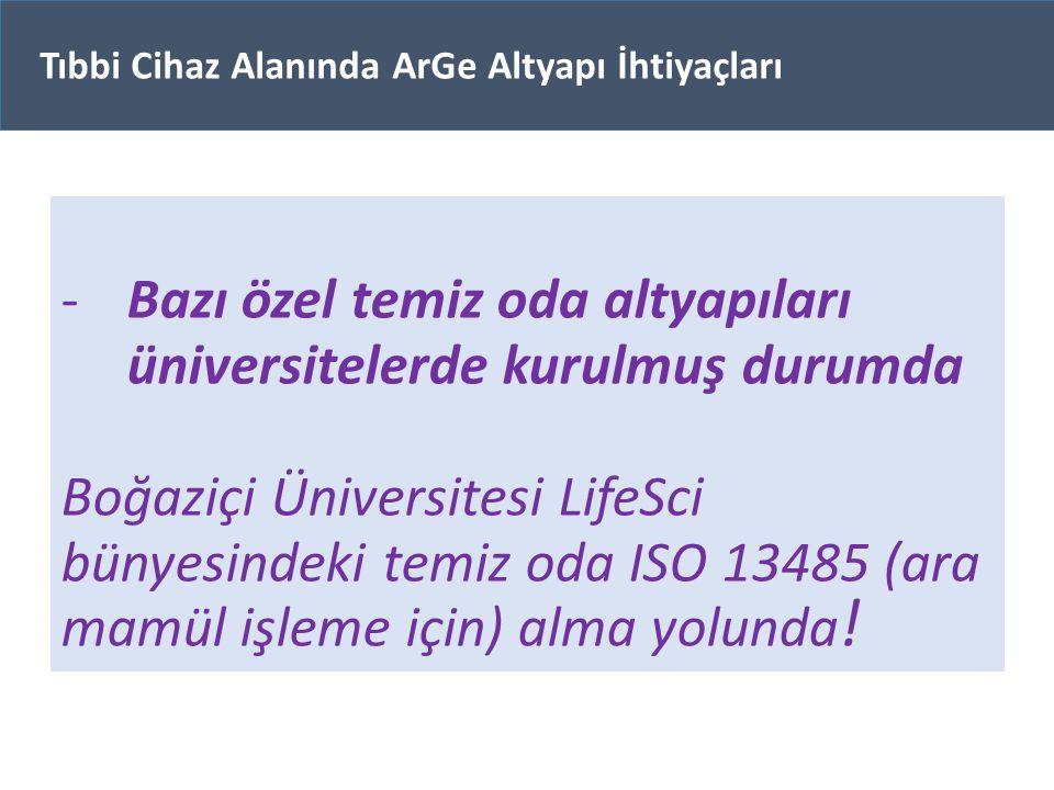 -Bazı özel temiz oda altyapıları üniversitelerde kurulmuş durumda Boğaziçi Üniversitesi LifeSci bünyesindeki temiz oda ISO 13485 (ara mamül işleme içi