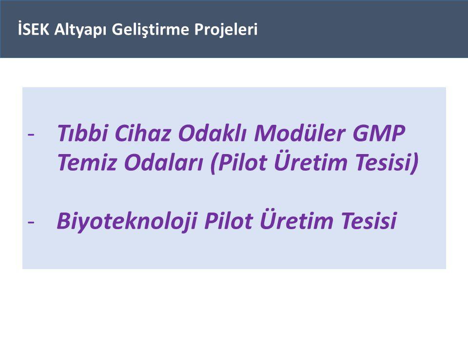 -Tıbbi Cihaz Odaklı Modüler GMP Temiz Odaları (Pilot Üretim Tesisi) -Biyoteknoloji Pilot Üretim Tesisi İSEK Altyapı Geliştirme Projeleri