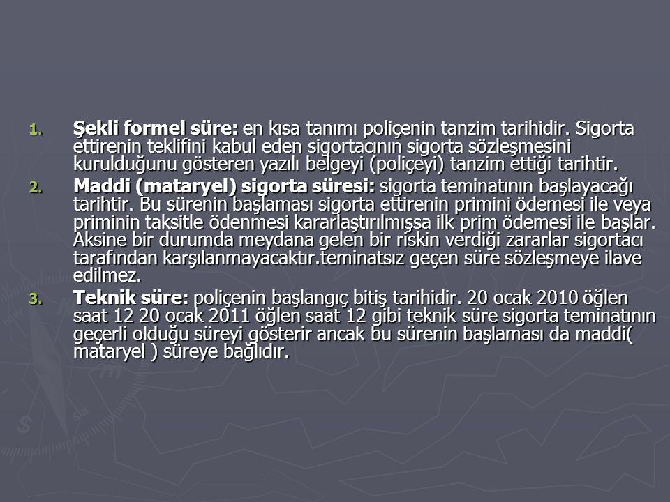 1.Şekli formel süre: en kısa tanımı poliçenin tanzim tarihidir.