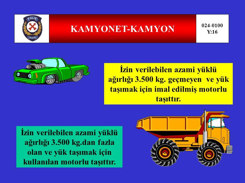 OTOMOBİL-MİNİBÜS 024-0100 Y:15 Yapı itibariyle,sürücüsünden dahil en çok 9 oturma yeri olan ve insan taşımak için imal edilmiş motorlu taşıttır.