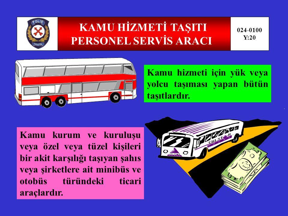 UMUM SERVİS ARACI KAPM TAŞITI 024-0100 Y:19 Okul servis araçları ile personel servis araçlarının birlikte değerlendirilmesidir Yük taşınmasında kullanılmayan iç dizaynı tatil yapmaya uygun teçhizatlarla donatılmış,hizmet edebileceği kadar yolcu taşıyabilen motorlu taşıttır.
