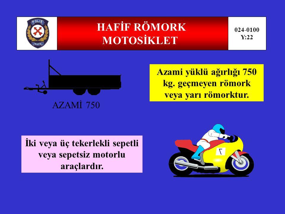 RÖMORK-YARI RÖMORK 024-0100 Y:21 Motorlu araçla çekilen insan veya yük taşımak için imal edilmiş motorsuz taşıttır.