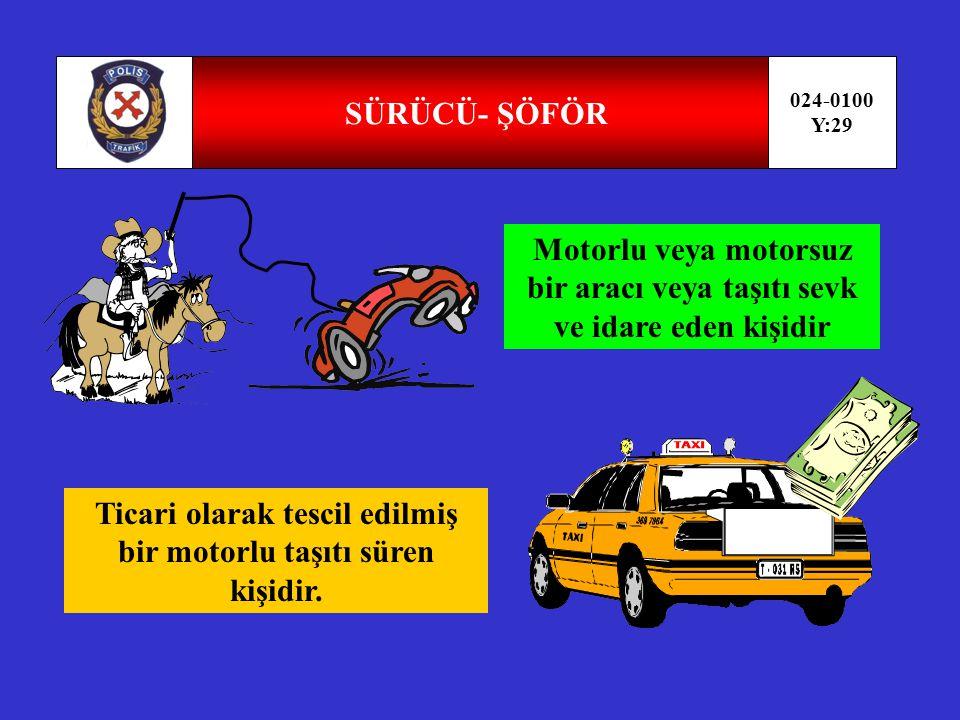 TAŞIT 024-0100 Y:28 TAŞIT MOTORLUMOTORSUZ Karayolunda insan, hayvan ve yük taşımaya yarayan araçlardır.