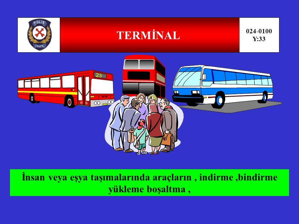 DURAK-GARAJ 024-0100 Y:32 D Kamu hizmeti yapan yolcu taşıtlarının yolcu veya hizmetlileri bindirmek için durakladıkları işaretlerle belirlenmiş yerdir.