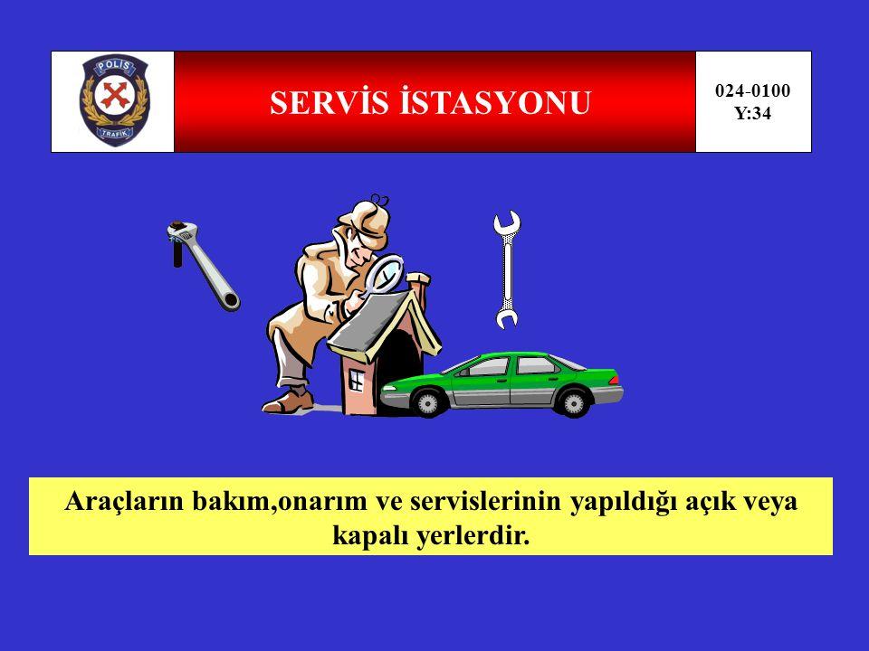 TERMİNAL 024-0100 Y:33 İnsan veya eşya taşımalarında araçların, indirme,bindirme yükleme boşaltma,