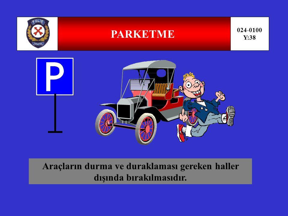 DURAKLAMA 024-0100 Y:37 Trafik zorunlulukları dışında araçların insan indirmek ve bindirmek eşya yüklemek boşaltmak veya beklemek amacı ile kısa bir süre için durdurulmasıdır.