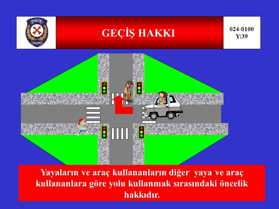 PARKETME 024-0100 Y:38 Araçların durma ve duraklaması gereken haller dışında bırakılmasıdır.