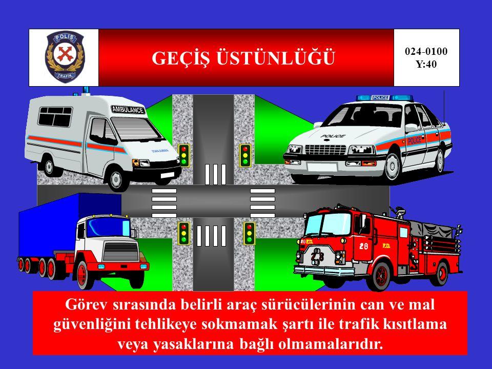 GEÇİŞ HAKKI 024-0100 Y:39 Yayaların ve araç kullananların diğer yaya ve araç kullananlara göre yolu kullanmak sırasındaki öncelik hakkıdır.