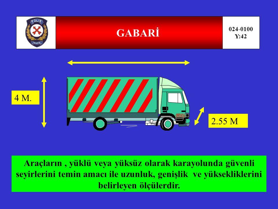 TAŞIMA SINIRI( KAPASİTE) 024-0100 Y:41 Bir aracın güvenle taşıyabileceği en çok yük ağırlığı ve yolcu sayısıdır.