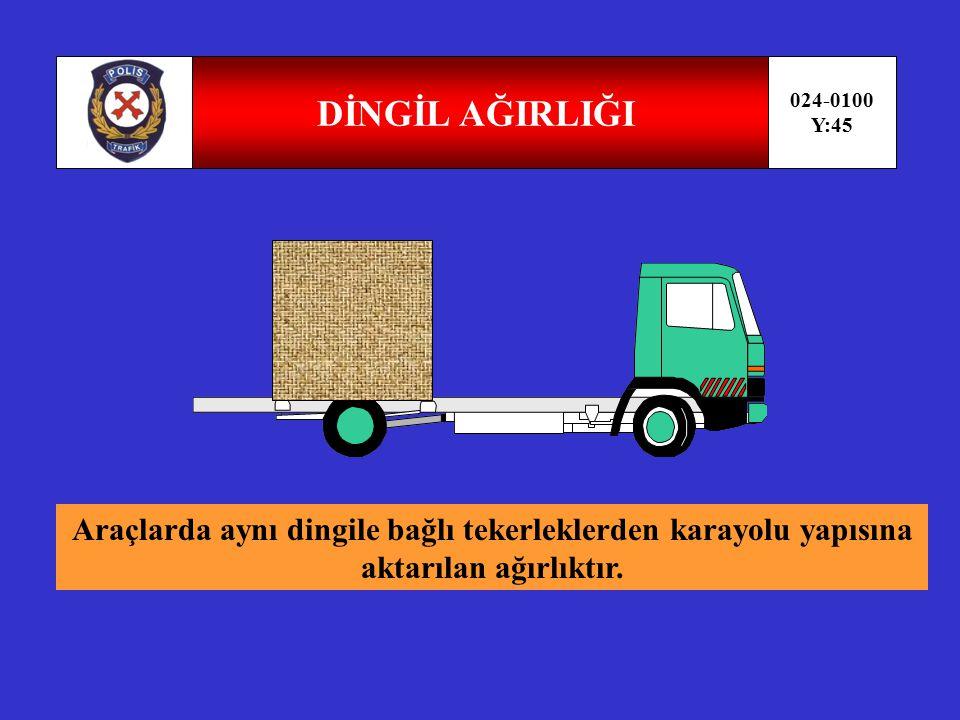 YÜKSÜZ AĞIRLIK 024-0100 Y:44 Üzerinde insan veya eşya (yük) bulunmayan ve akaryakıt deposu olan bir aracın taşınması zorunlu alet,edevat ve donanımı ile birlikte toplam ağırlığıdır.