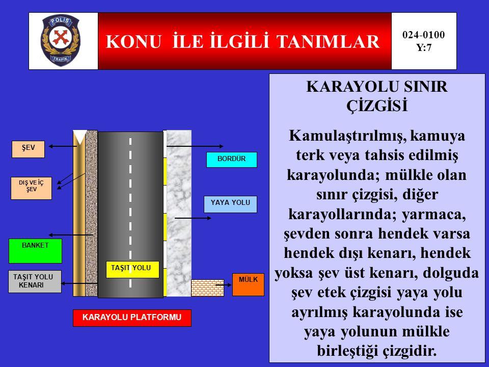 KONU İLE İLGİLİ TANIMLAR 024-0100 Y:6 ERİŞME KONTROLLÜ KARAYOLU (OTOYOL-EKSPRES YOL ) Transit trafiğe tahsis edilen, belirli yerler ve şartlar dışında giriş ve çıkışın yasaklandığı, yaya, hayvan ve motorsuz araçların giremediği trafiğin özel kontrole tabi tutulduğu yoldur