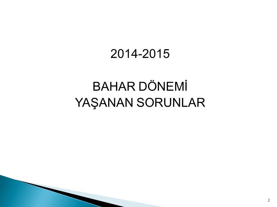 2014-2015 BAHAR DÖNEMİ YAŞANAN SORUNLAR 2