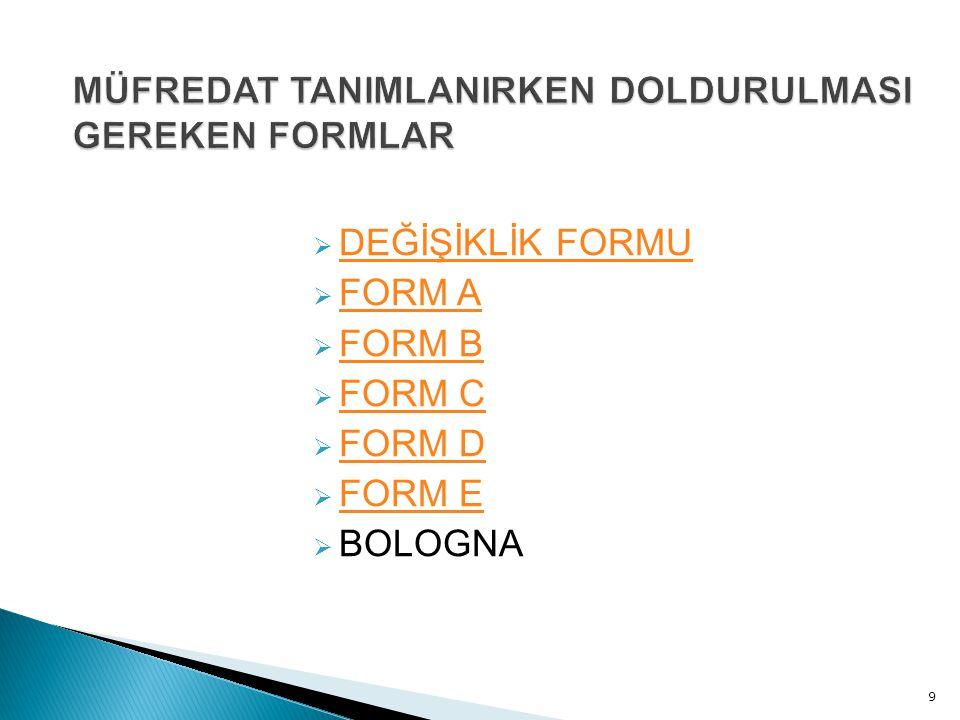  DEĞİŞİKLİK FORMU DEĞİŞİKLİK FORMU  FORM A FORM A  FORM B FORM B  FORM C FORM C  FORM D FORM D  FORM E FORM E  BOLOGNA 9