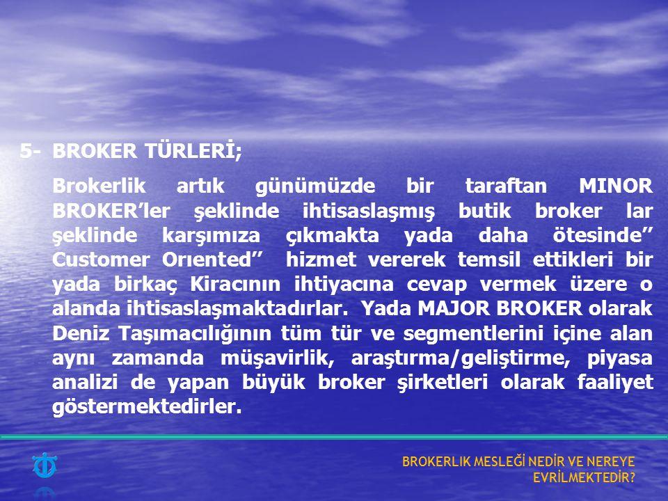 5-BROKER TÜRLERİ; Brokerlik artık günümüzde bir taraftan MINOR BROKER'ler şeklinde ihtisaslaşmış butik broker lar şeklinde karşımıza çıkmakta yada daha ötesinde'' Customer Orıented'' hizmet vererek temsil ettikleri bir yada birkaç Kiracının ihtiyacına cevap vermek üzere o alanda ihtisaslaşmaktadırlar.