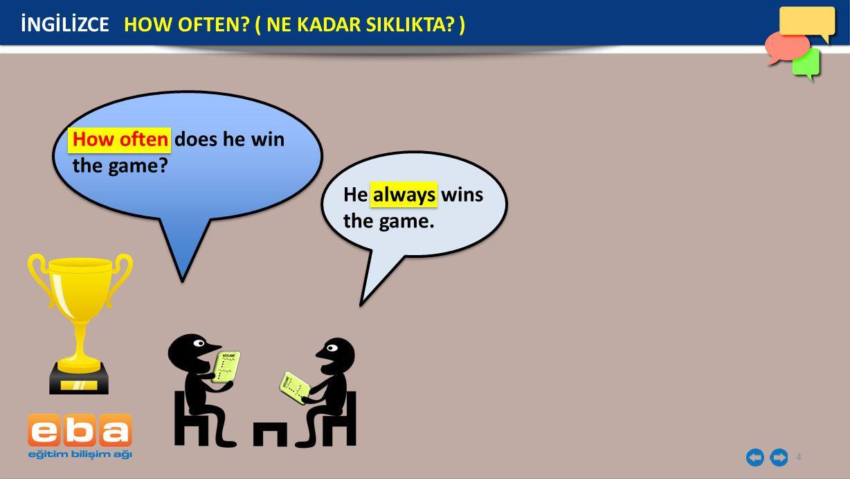 4 İNGİLİZCE HOW OFTEN? ( NE KADAR SIKLIKTA? ) How often does he win the game? He always wins the game.