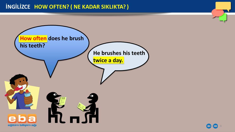 8 İNGİLİZCE HOW OFTEN? ( NE KADAR SIKLIKTA? ) How often does he brush his teeth? He brushes his teeth twice a day.
