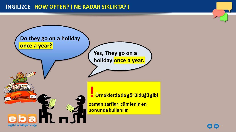 9 İNGİLİZCE HOW OFTEN? ( NE KADAR SIKLIKTA? ) Do they go on a holiday once a year? Yes, They go on a holiday once a year. ! Örneklerde de görüldüğü gi