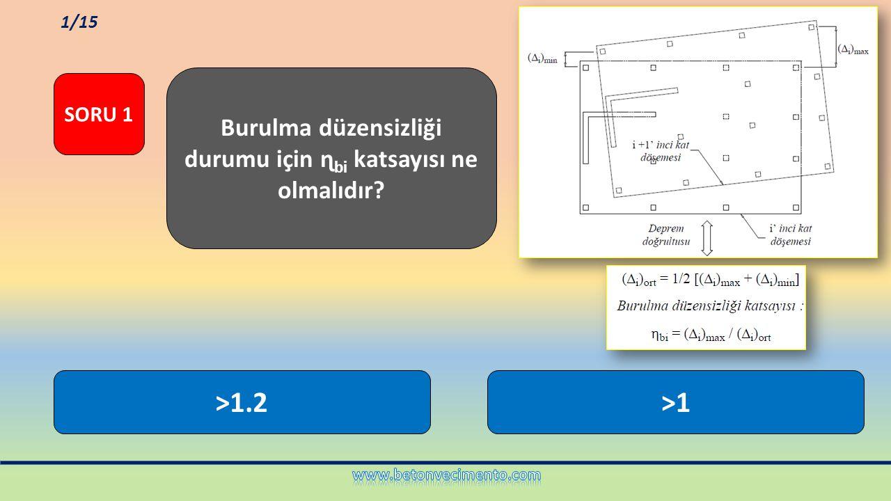 >1.2>1 Burulma düzensizliği durumu için ɳ bi katsayısı ne olmalıdır? SORU 1 1/15