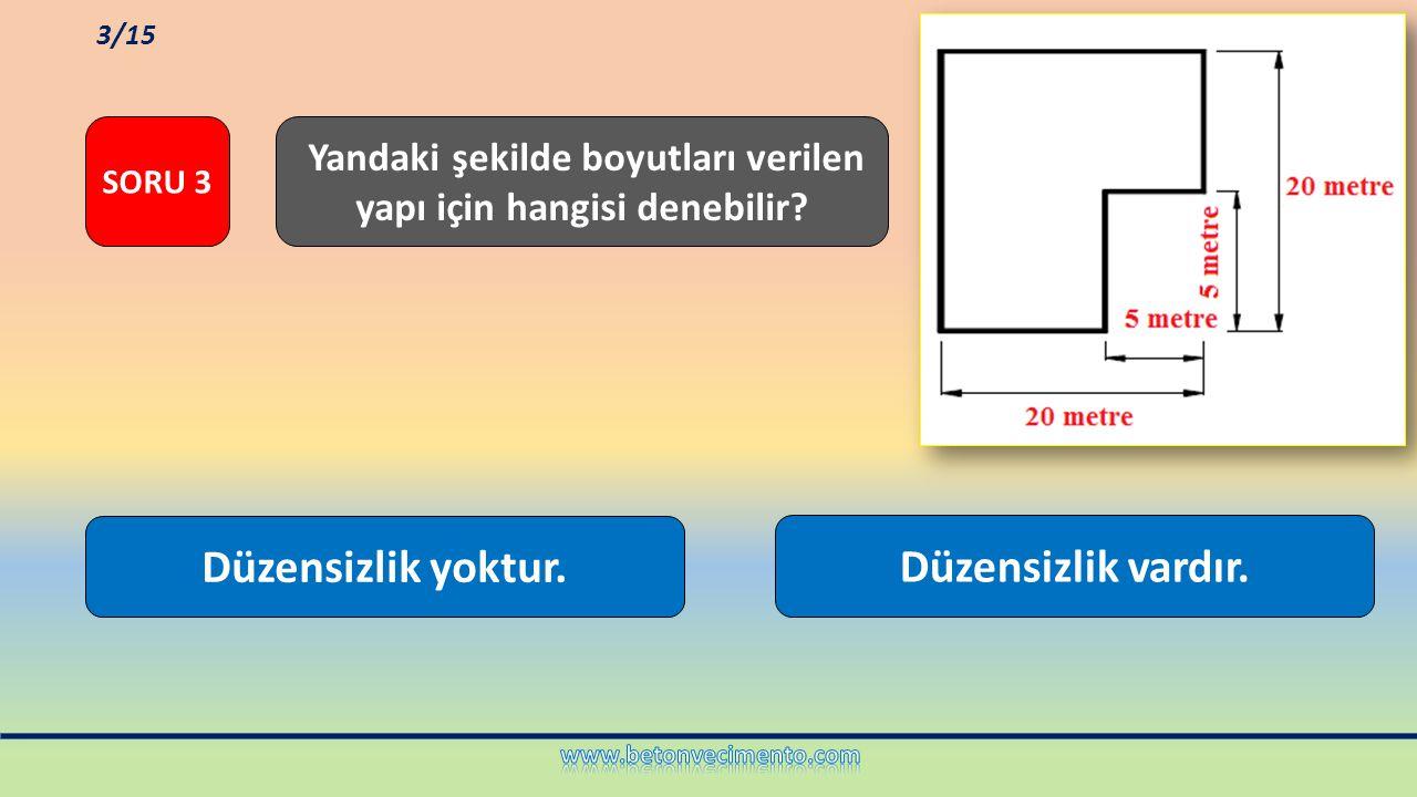 Düzensizlik vardır. Düzensizlik yoktur. Yandaki şekilde boyutları verilen yapı için hangisi denebilir? SORU 3 3/15