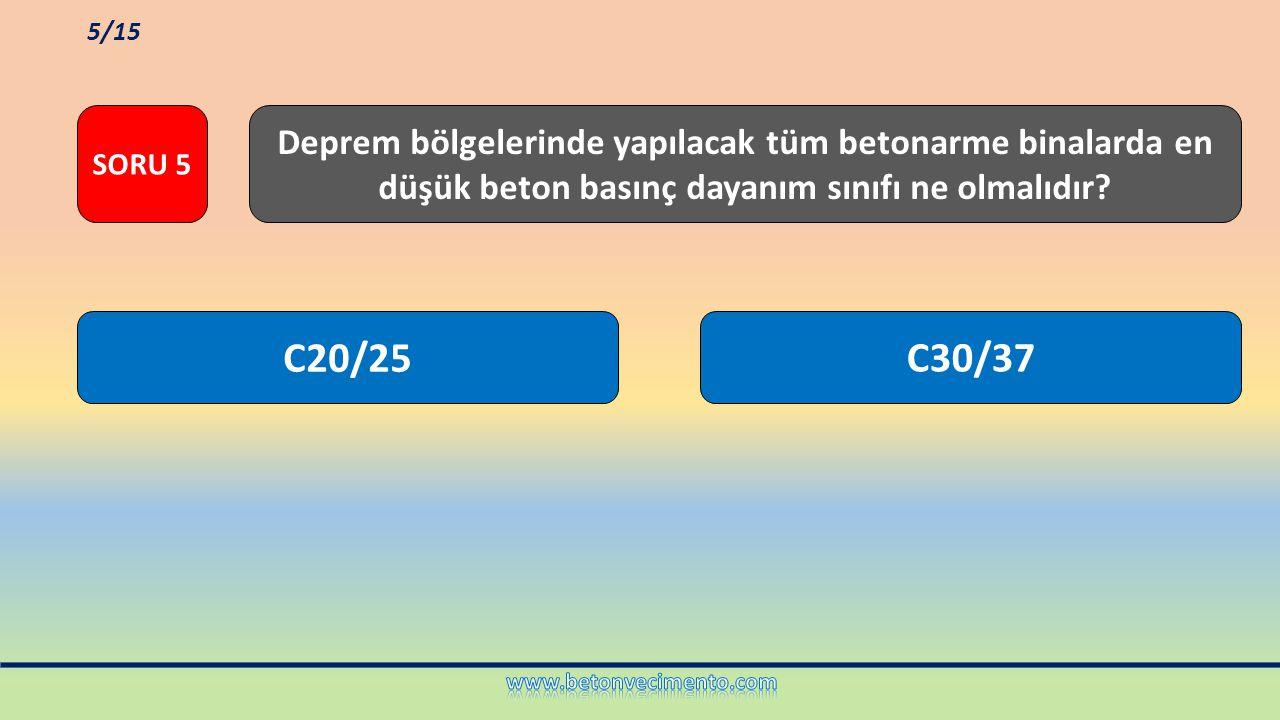 C20/25C30/37 Deprem bölgelerinde yapılacak tüm betonarme binalarda en düşük beton basınç dayanım sınıfı ne olmalıdır? SORU 5 5/15