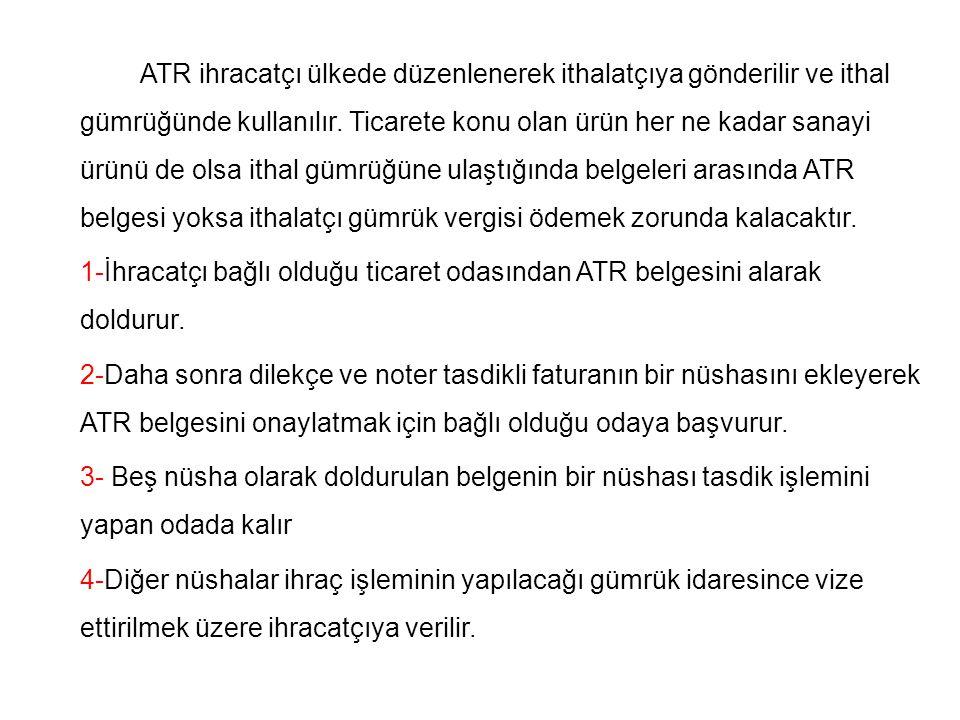 ATR ihracatçı ülkede düzenlenerek ithalatçıya gönderilir ve ithal gümrüğünde kullanılır. Ticarete konu olan ürün her ne kadar sanayi ürünü de olsa ith