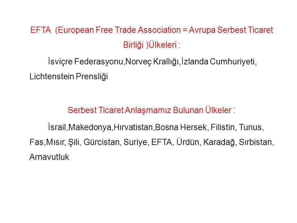 EFTA (European Free Trade Association = Avrupa Serbest Ticaret Birliği )Ülkeleri : İsviçre Federasyonu,Norveç Krallığı,İzlanda Cumhuriyeti, Lichtenste