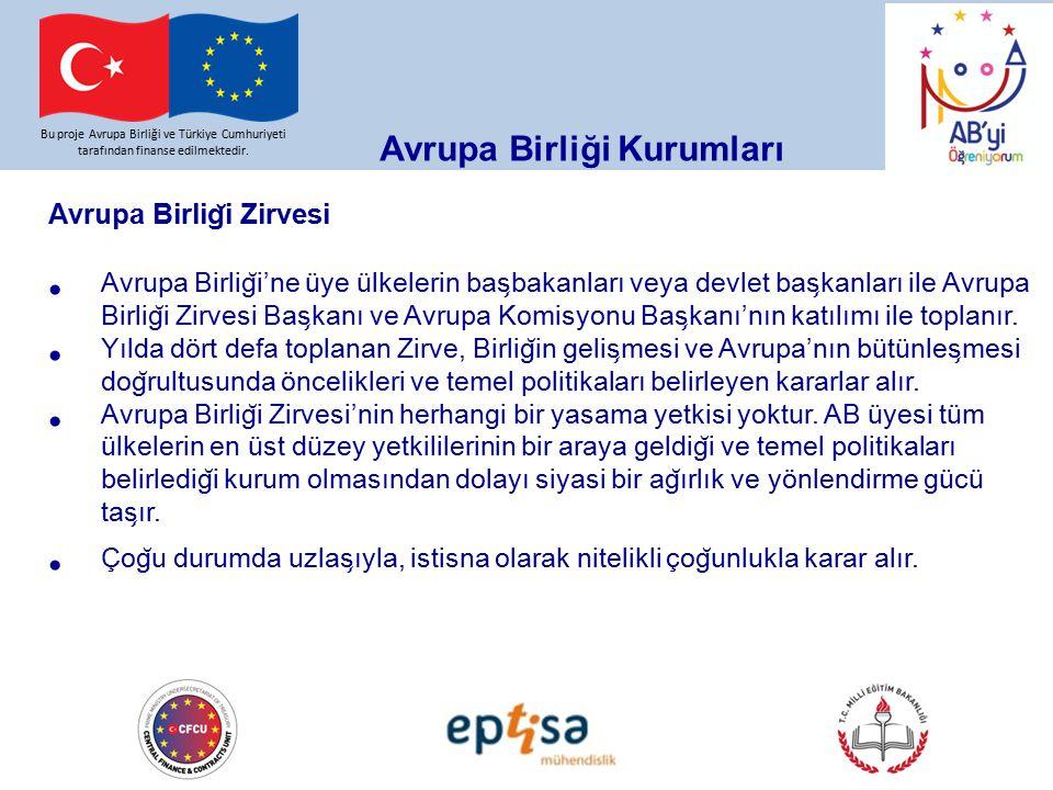 Bu proje Avrupa Birliği ve Türkiye Cumhuriyeti tarafından finanse edilmektedir. Avrupa Birliği Kurumları Avrupa Birlig ̆ i Zirvesi Avrupa Birlig ̆ i'n