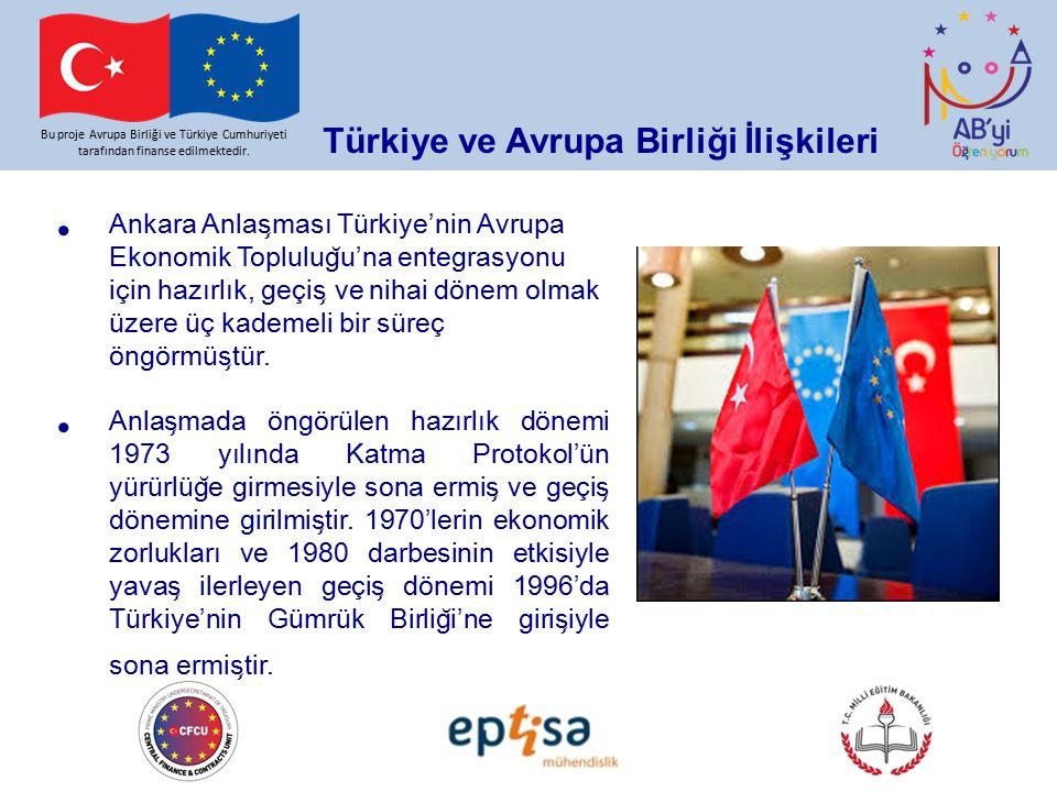 Bu proje Avrupa Birliği ve Türkiye Cumhuriyeti tarafından finanse edilmektedir. Türkiye ve Avrupa Birliği İlişkileri Ankara Anlas ̧ ması Türkiye'nin A