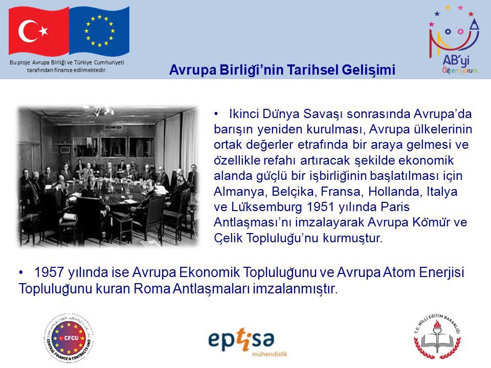 Avrupa Birlig ̆ i'nin Tarihsel Gelis ̧ imi Bu proje Avrupa Birliği ve Türkiye Cumhuriyeti tarafından finanse edilmektedir.