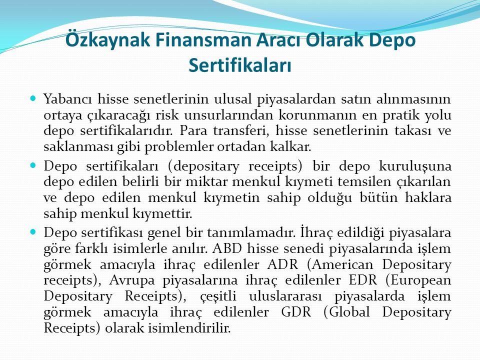 Özkaynak Finansman Aracı Olarak Depo Sertifikaları Yabancı hisse senetlerinin ulusal piyasalardan satın alınmasının ortaya çıkaracağı risk unsurlarınd