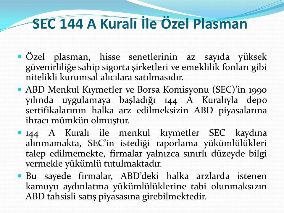 SEC 144 A Kuralı İle Özel Plasman Özel plasman, hisse senetlerinin az sayıda yüksek güvenirliliğe sahip sigorta şirketleri ve emeklilik fonları gibi n