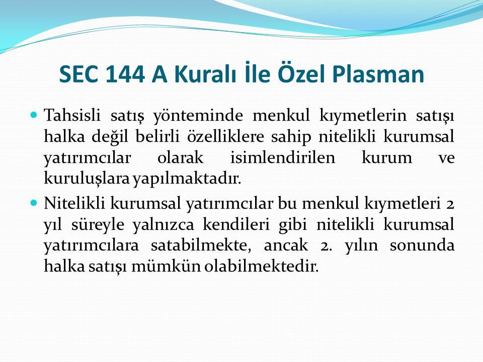 SEC 144 A Kuralı İle Özel Plasman Tahsisli satış yönteminde menkul kıymetlerin satışı halka değil belirli özelliklere sahip nitelikli kurumsal yatırım