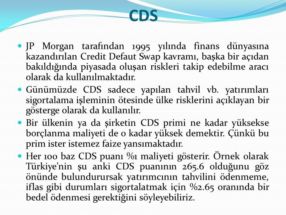 CDS JP Morgan tarafından 1995 yılında finans dünyasına kazandırılan Credit Defaut Swap kavramı, başka bir açıdan bakıldığında piyasada oluşan riskleri