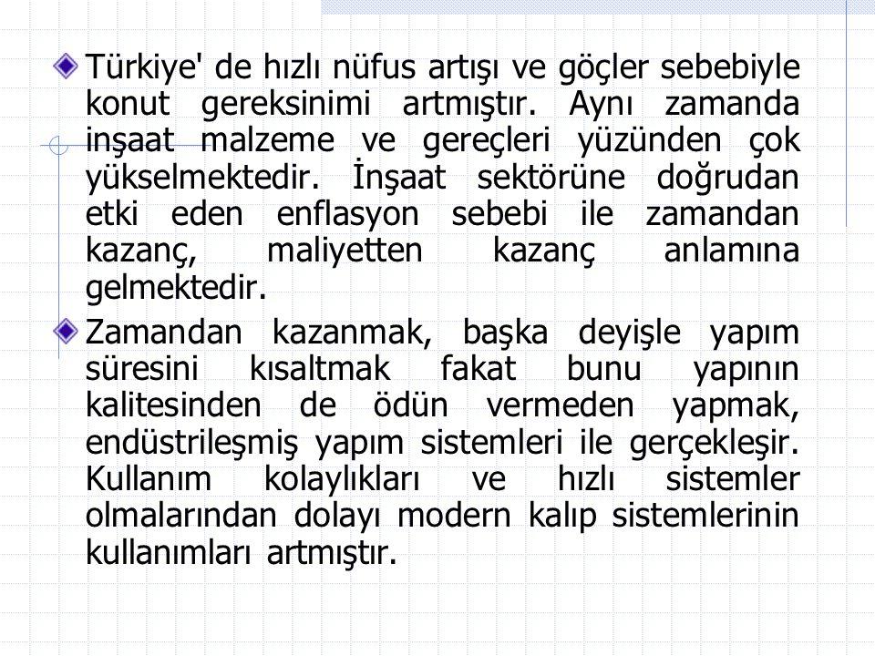 Türkiye' de hızlı nüfus artışı ve göçler sebebiyle konut gereksinimi artmıştır. Aynı zamanda inşaat malzeme ve gereçleri yüzünden çok yükselmektedir.