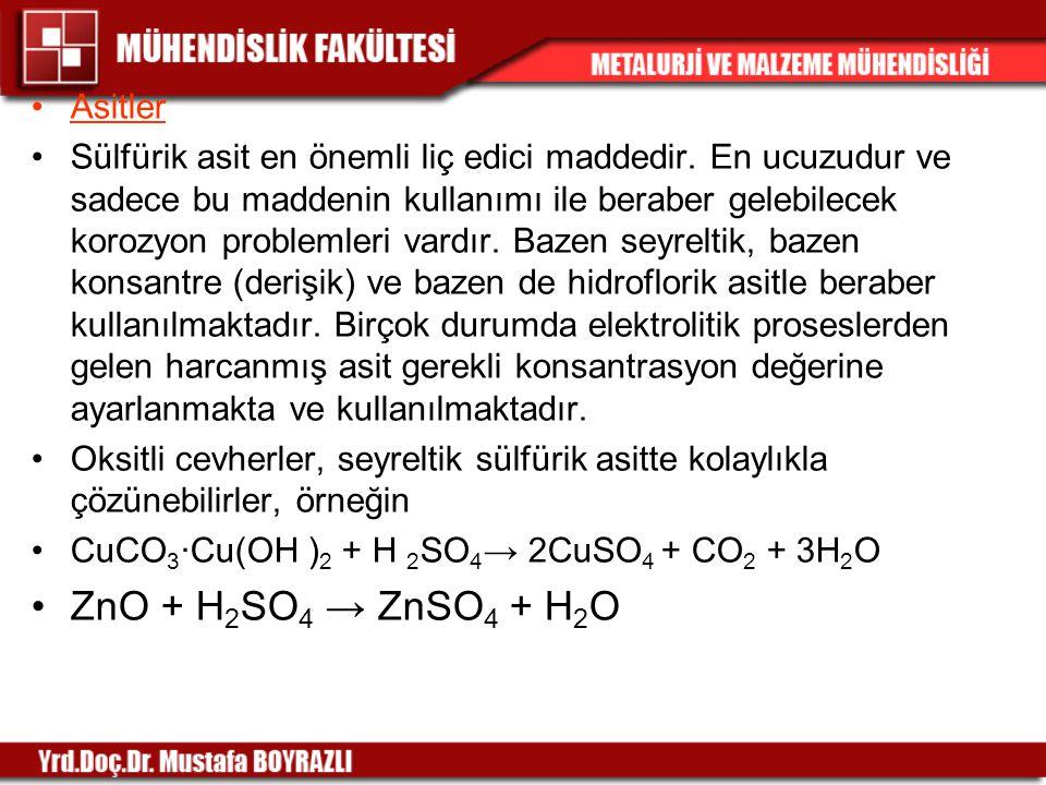 Asitler Sülfürik asit en önemli liç edici maddedir. En ucuzudur ve sadece bu maddenin kullanımı ile beraber gelebilecek korozyon problemleri vardır. B