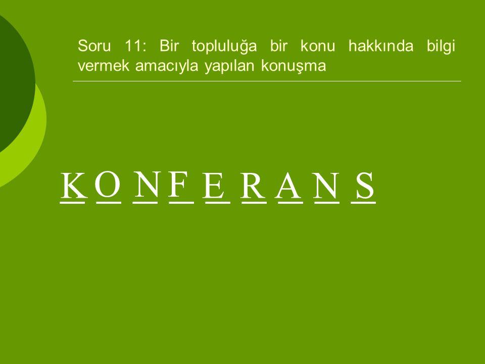 Soru 11: Bir topluluğa bir konu hakkında bilgi vermek amacıyla yapılan konuşma _ _ _ _ _ _ _ _ _ K ONF ERANS