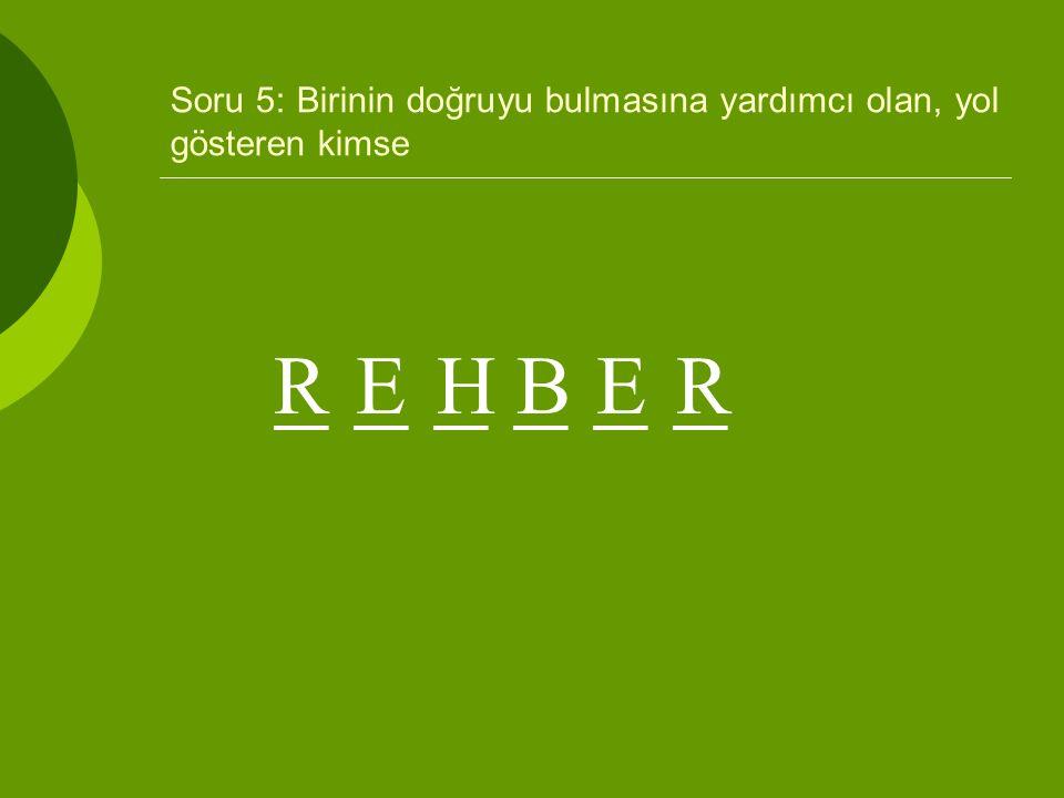 Soru 5: Birinin doğruyu bulmasına yardımcı olan, yol gösteren kimse _ _ _ EHBERR