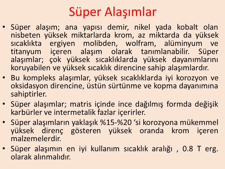 Süper Alaşımlar Süper alaşım; ana yapısı demir, nikel yada kobalt olan nisbeten yüksek miktarlarda krom, az miktarda da yüksek sıcaklıkta ergiyen molibden, wolfram, alüminyum ve titanyum içeren alaşım olarak tanımlanabilir.
