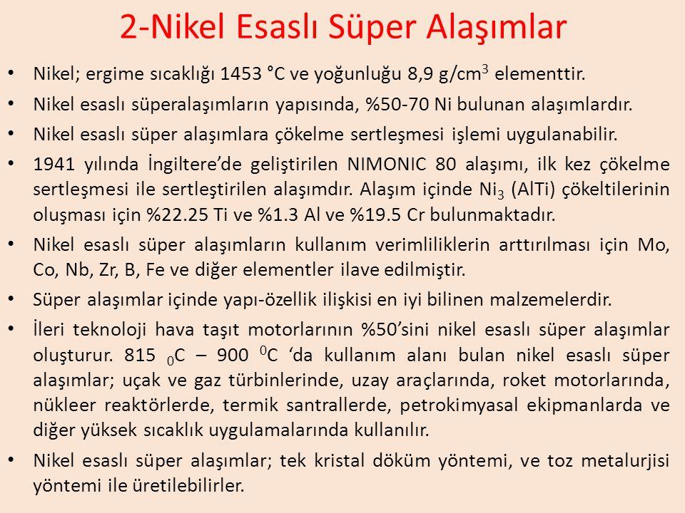 2-Nikel Esaslı Süper Alaşımlar Nikel; ergime sıcaklığı 1453 °C ve yoğunluğu 8,9 g/cm 3 elementtir.