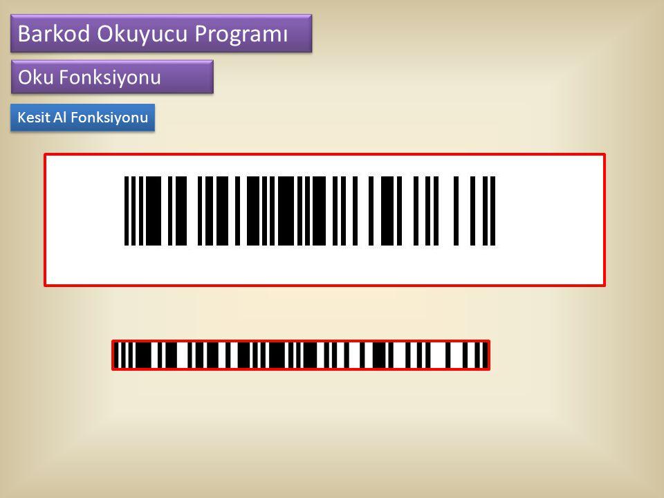 Barkod Okuyucu Programı Oku Fonksiyonu Kalınlık Sayma Yöntemleri Her barkod siyah ve beyaz olmak üzere toplamda 59 çizgiden oluşur.