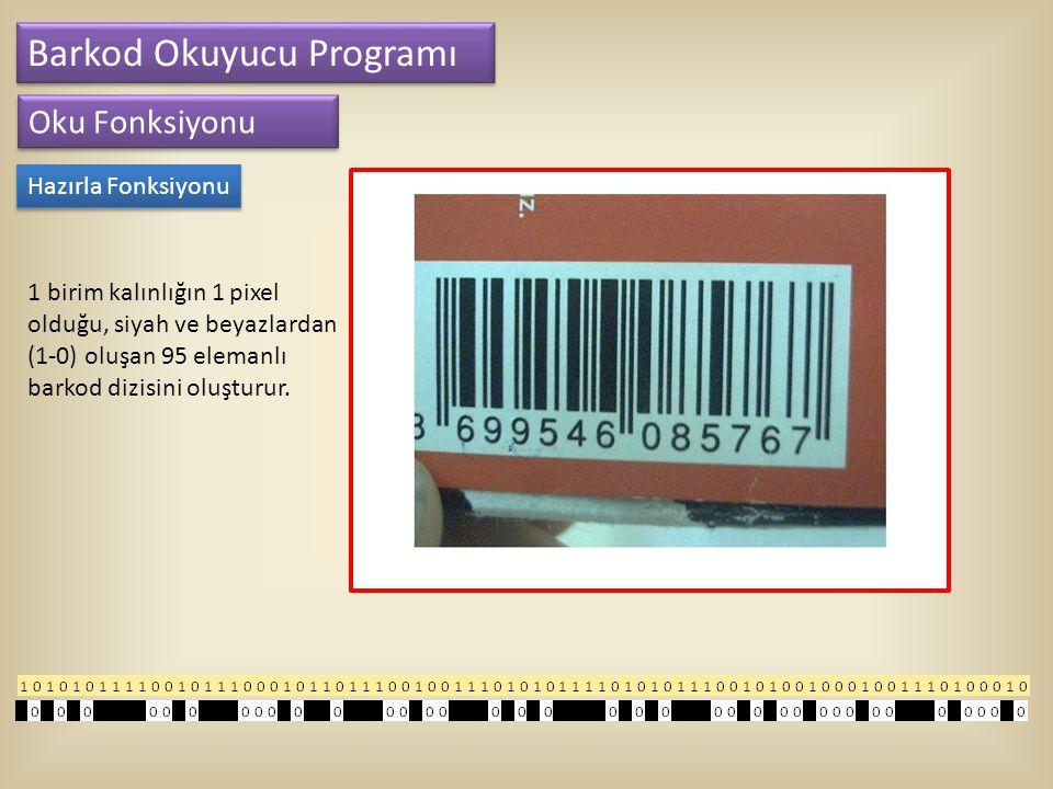 Barkod Okuyucu Programı Oku Fonksiyonu Hazırla Fonksiyonu 1 birim kalınlığın 1 pixel olduğu, siyah ve beyazlardan (1-0) oluşan 95 elemanlı barkod dizi