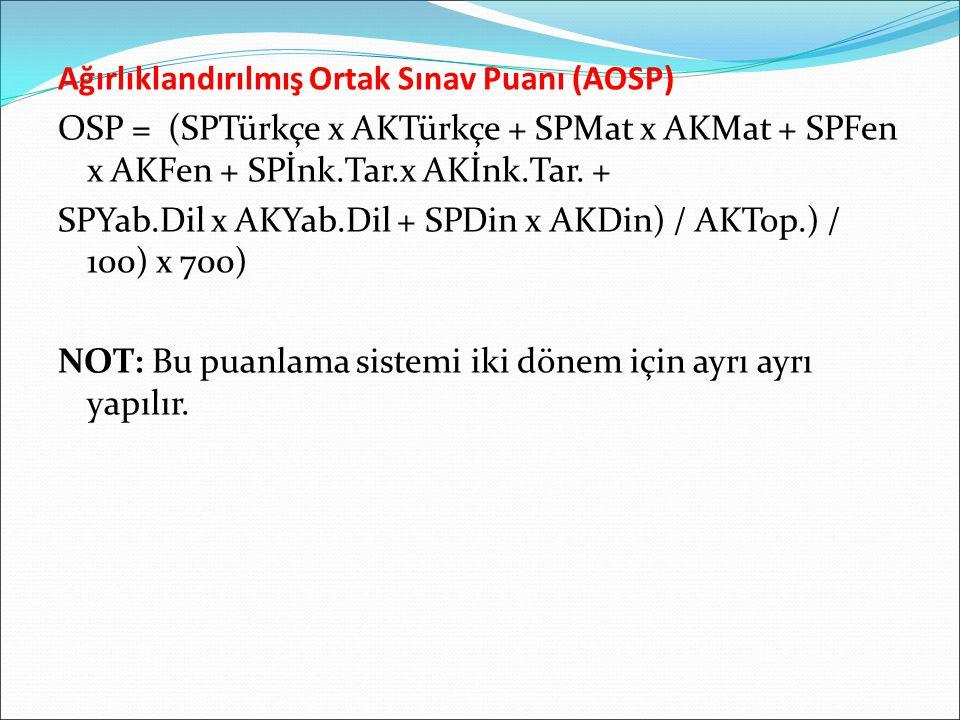 Ağırlıklandırılmış Ortak Sınav Puanı (AOSP) OSP = (SPTürkçe x AKTürkçe + SPMat x AKMat + SPFen x AKFen + SPİnk.Tar.x AKİnk.Tar. + SPYab.Dil x AKYab.Di